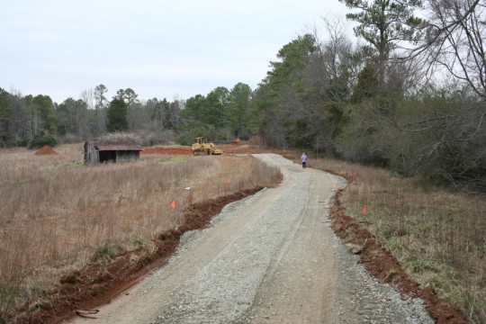 View of the driveway after gravel deposited