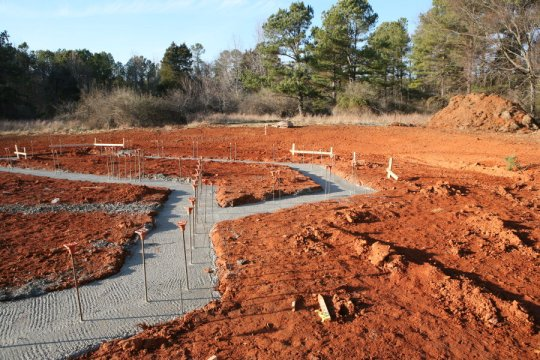 Footings and rebar, wide