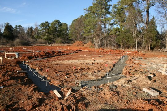 Garage footings, from south