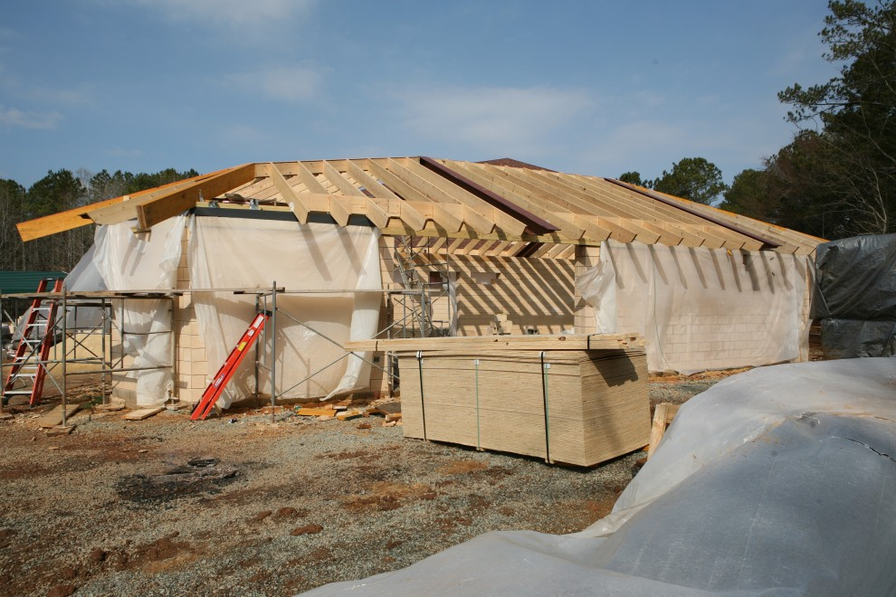 Week 112 annex roof framing and sheathing manifold for Roof sheathing material