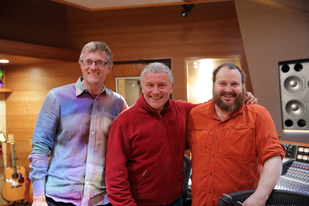 Michael Tiemann, Carl Palmer, and Ian Schreier in the Control Room of Manifold Recording